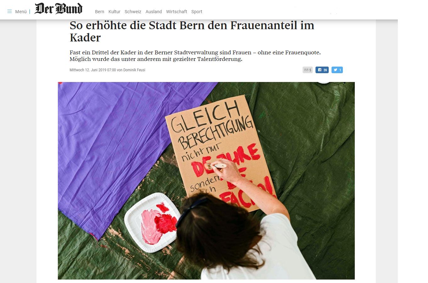 Problem gelöst! Artikel im Bund vom 12. Juni 2019 So erhöhte die Stadt Bern den Frauenanteil im Kader