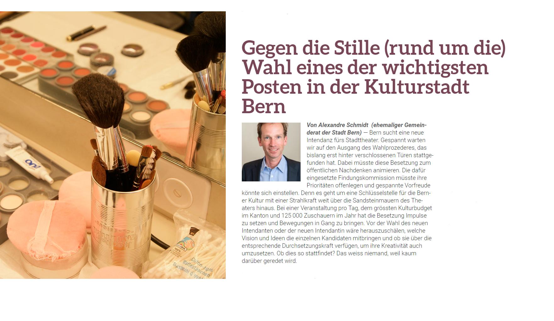 Meine Tribüne in der Ensuite vom 10. April 2019 - Gegen die Stille (rund um die) Wahl eines der wichtigsten Posten in der Kulturstadt Bern