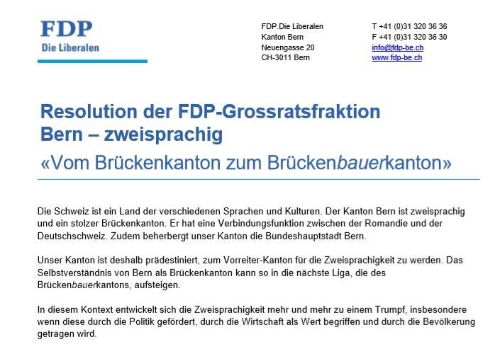 Résolution de la fraction PLR au Grand Conseil Berne – bilingue: Du « Canton pont » à « Canton bâtisseur de ponts »